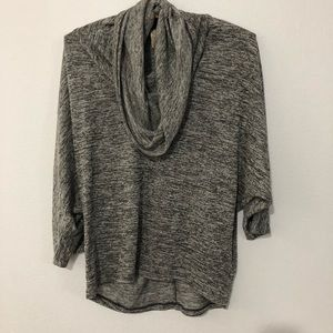 Olivia Moon Gray Funnel Neck Blouse Small
